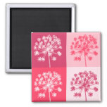 Floral Pink Popart 2 Inch Square Magnet