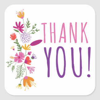 Floral Pink & Purple Thank You Watercolor Flowers Square Sticker