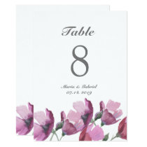 Floral pink purple watercolor Wedding Table Number