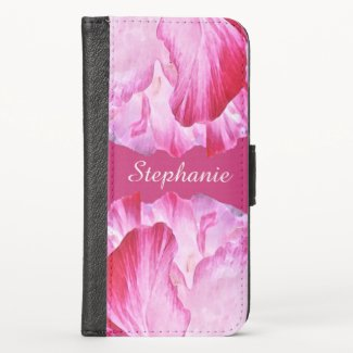 Floral Pink Red Poppy Flowers iPhone X Wallet Case