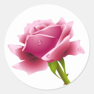 Floral Pink Rose Flower Sticker / Seal