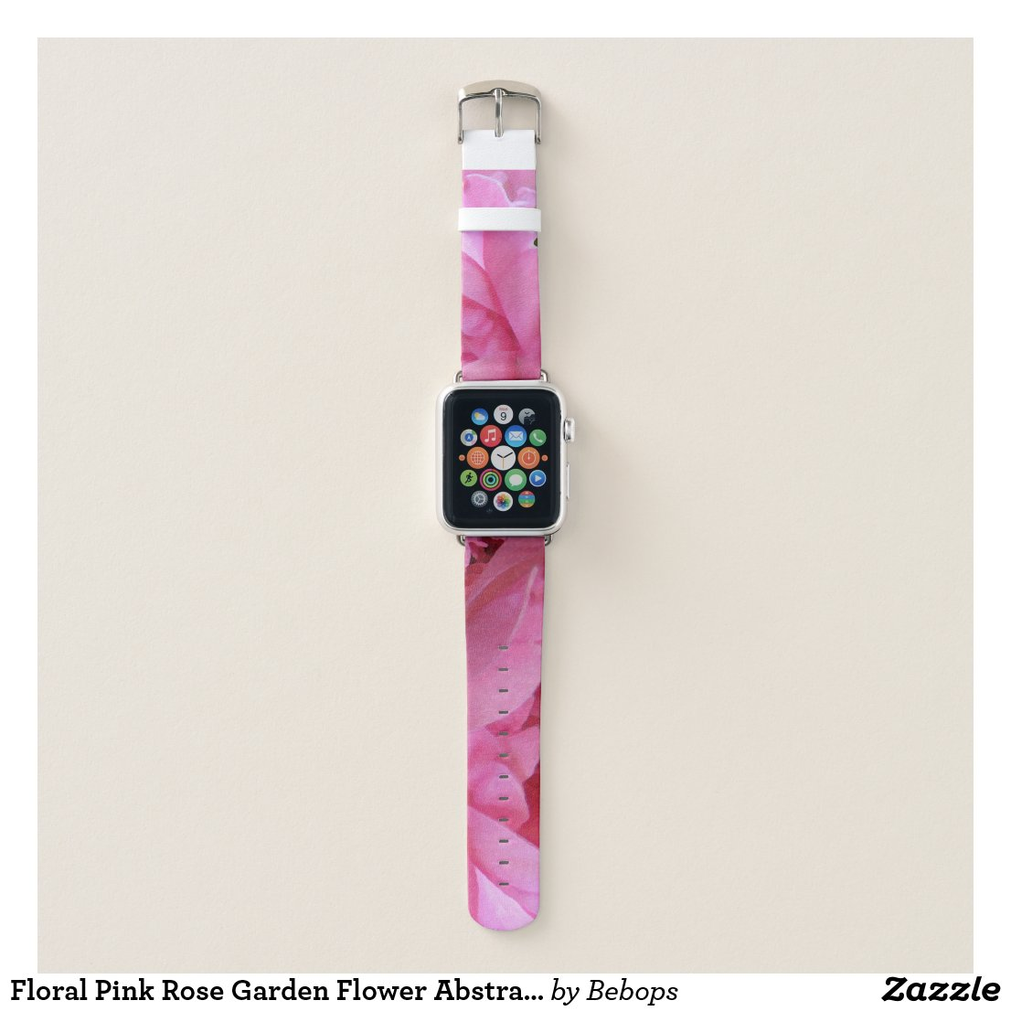 Floral Pink Rose Garden Flower Abstract Pattern Apple Watch Band