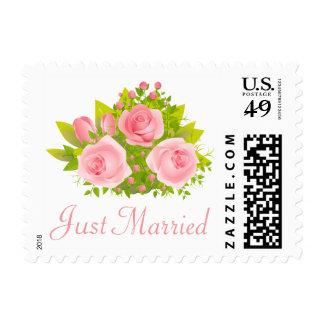 Floral Pink Rose Just Married Wedding Announcement Postage