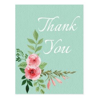 Floral Pink Rose Thank You Flower Mint Wedding Postcard