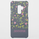 "Floral Pink Rose Vine Navy Elegant Personalized Uncommon Samsung Galaxy S9 Plus Case<br><div class=""desc"">A delicate pink rose floral vine pattern on a navy background with a personalized name in hot pink. Edit or delete the text in the text box to personalized.</div>"