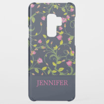 Floral Pink Rose Vine Navy Elegant Personalized Uncommon Samsung Galaxy S9 Plus Case