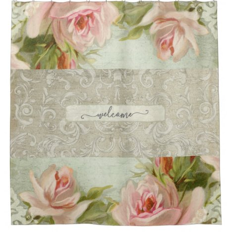 Floral Pink Roses Damask Vintage Modern Welcome Shower Curtain