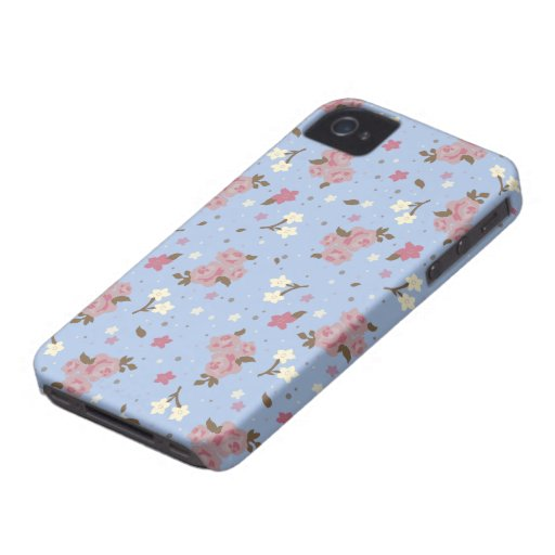 Floral Pink Roses on baby blue iPhone 4 Case-Mate Cases