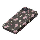 Floral Pink Roses on dark brown iPhone 4 Case-Mate Cases