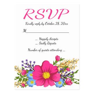 Floral Pink RSVP Watercolor Flower Wedding Postcard