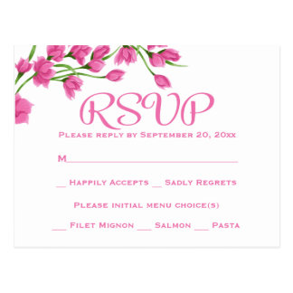 Floral Pink RSVP Wedding Party Fuchsia Flowers Postcard