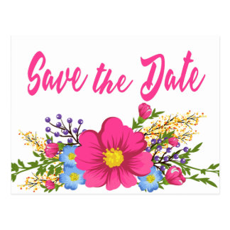 Floral Pink Save the Date Watercolor Flower Postcard
