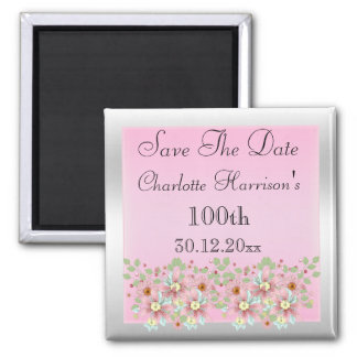 Floral Pink & Silver Save The Date 100th 2 Inch Square Magnet