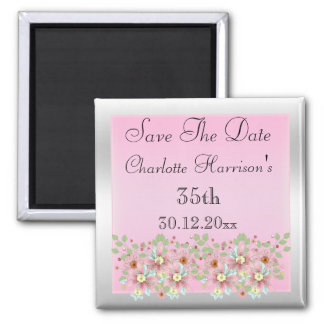 Floral Pink & Silver Save The Date 35th Magnet
