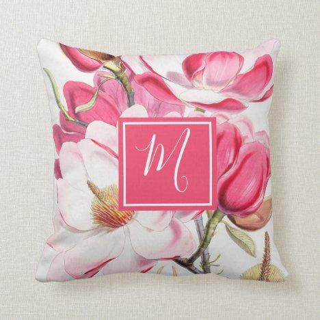 Floral  Pink  Spring Pretty Chic Elegant Monogram Throw Pillow