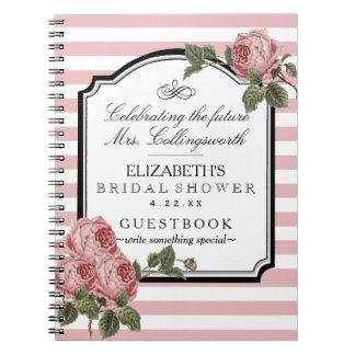 Floral Pink Stripes Girly Bridal Shower Guestbook Spiral Notebook