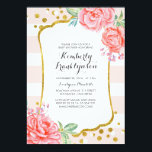 """Floral Pink Stripes Gold Confetti Baby Shower Card<br><div class=""""desc"""">Pink stripes and flowers gold confetti dots vintage baby shower invitations</div>"""
