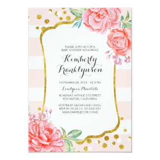 Floral Pink Stripes Gold Confetti Baby Shower Invitation