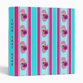 Floral Pink Teal Mix Regency Stripes 3 Ring Binder