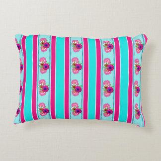 Floral Pink Teal Mix Regency Stripes Accent Pillow