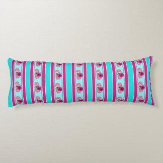 Floral Pink Teal Mix Regency Stripes Body Pillow