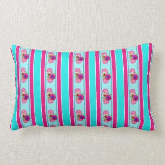 Floral Pink Teal Mix Regency Stripes Pillow