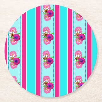 Floral Pink Teal Mix Regency Stripes Round Paper Coaster