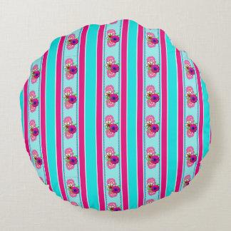 Floral Pink Teal Mix Regency Stripes Round Pillow