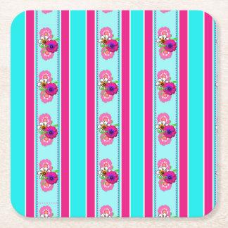 Floral Pink Teal Mix Regency Stripes Square Paper Coaster