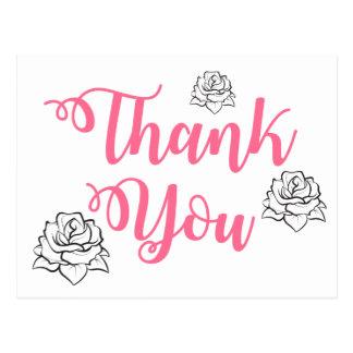 Floral Pink Thank You Black Rose Flower Wedding Postcard