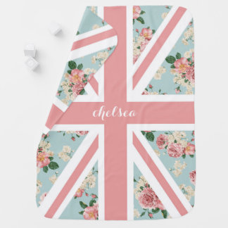 Floral Pink Union Jack UK Flag Baby Blanket