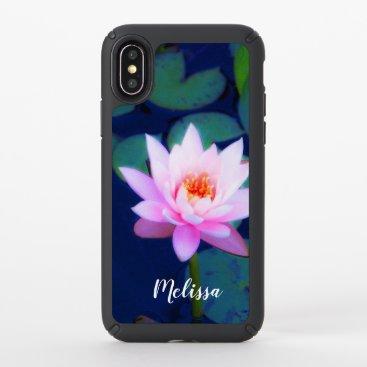 Floral Pink Water Lily Monogram Speck iPhone X Case