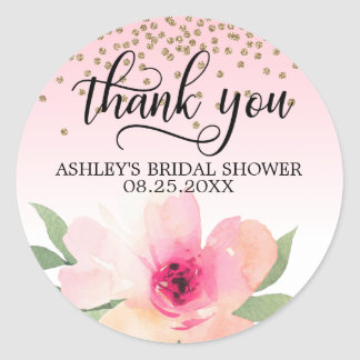 Floral Pink Watercolor Bridal Shower Thank You Classic Round Sticker