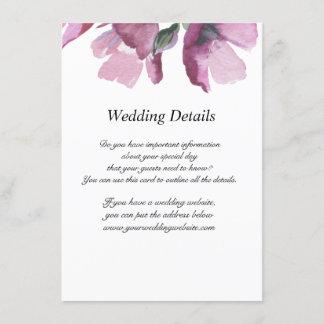 Floral pink watercolor Wedding Reception Details Enclosure Card