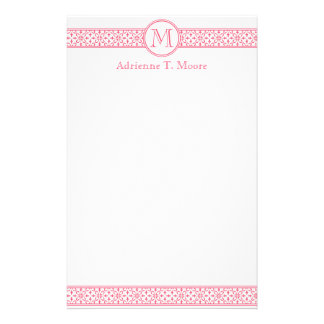 Floral Pink White Monogram Initial Stationery