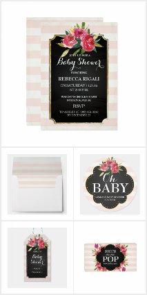 Floral Pink & White Stripes