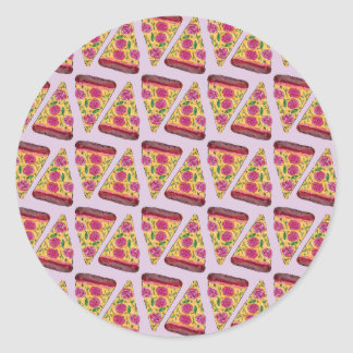 floral pizza classic round sticker
