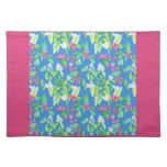 Floral Placemat, Bright Pink, Blue, White, Green Cloth Placemat