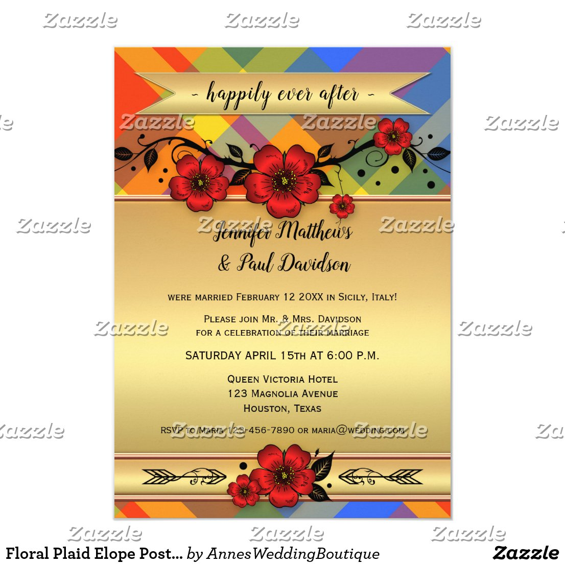 Floral Plaid Elope Post Wedding Party Invitation