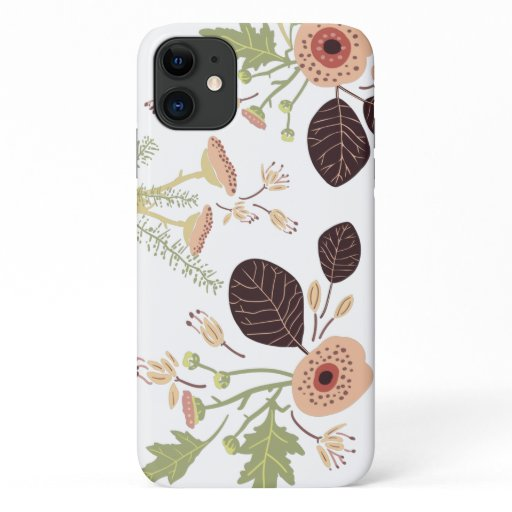 Floral Playful Tossed Flowers Leaves Motifs iPhone 11 Case