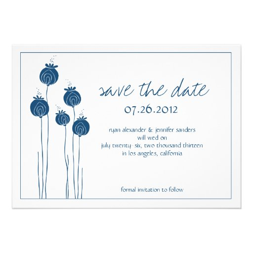 Floral Pods Navy Save the Date Cards