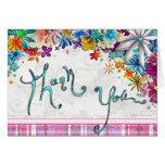 Floral Polka Dot Plaid Fun Thank You Card