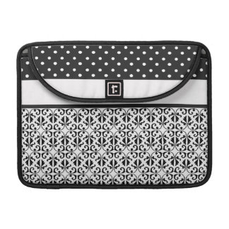 Floral & Polka Dots in Black & White Sleeve For MacBook Pro