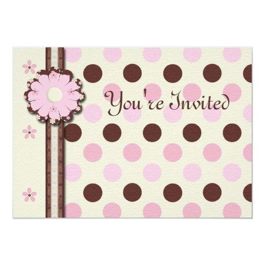 Floral polkadots girl's birthday party invitation
