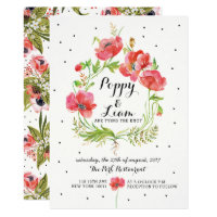 Floral Poppies Wreath Wedding Invitation