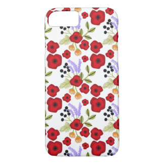 Floral  poppy  red iPhone 7 case