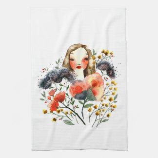 Floral Portrait Kitchen Towel