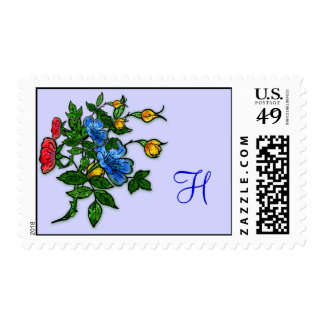 Floral Postage for Monogram or Initials