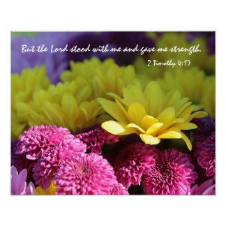 Floral Poster, Bible Verse about God's Strength Poster