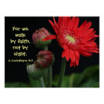 Floral Poster w Bible verse from 2 Corinthians 5:7